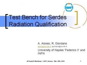 Test Bench for Serdes Radiation Qualification A Aloisio
