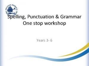 Spelling Punctuation Grammar One stop workshop Years 3