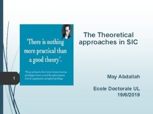 The Theoretical approaches in SIC 1 May Abdallah