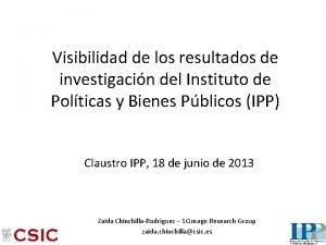 Visibilidad de los resultados de investigacin del Instituto