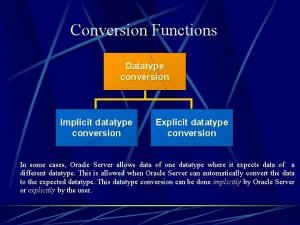 Conversion Functions Datatype conversion Implicit datatype conversion Explicit