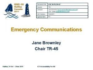 Document No GSC 16 PLEN62 Source TIA Contact