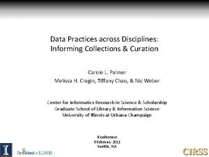 Data Practices across Disciplines Informing Collections Curation Carole