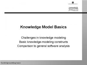 Knowledge Model Basics Challenges in knowledge modeling Basic