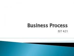 Business Process IST 421 Business Process Integration Defines