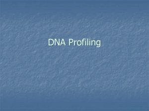 DNA Profiling DNA Profiling n There are two