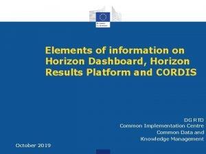 Elements of information on Horizon Dashboard Horizon Results