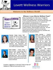 Lovett Wellness Warriors Welcome to the Wellness World