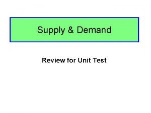Supply Demand Review for Unit Test SD Unit