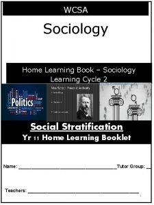 WCSA Sociology Home Learning Book Sociology Learning Cycle