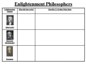 Enlightenment Philosophers Enlightenment Thinker John Locke Baron de