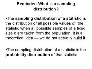 Reminder What is a sampling distribution The sampling