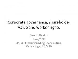 Corporate governance shareholder value and worker rights Simon