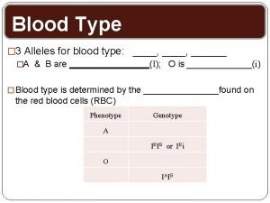 Blood Type 3 Alleles for blood type A