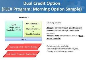 Dual Credit Option FLEX Program Morning Option Sample