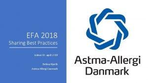 EFA 2018 Sharing Best Practices Lisbon 16 april
