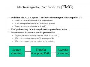 Electromagnetic Compatibility EMC Definition of EMC A system