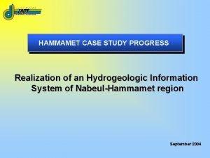HAMMAMET CASE STUDY PROGRESS Realization of an Hydrogeologic
