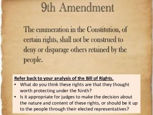 Refer back to your analysis of the Bill