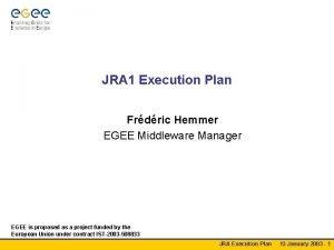JRA 1 Execution Plan Frdric Hemmer EGEE Middleware