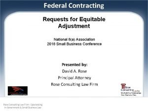 Federal Contracting Requests for Equitable Adjustment National 8a