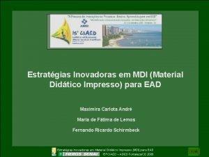 Estratgias Inovadoras em MDI Material Didtico Impresso para