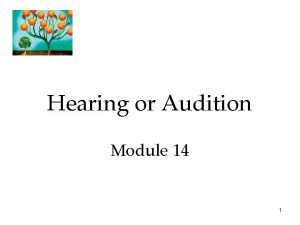 Hearing or Audition Module 14 1 Hearing Our