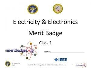Electricity Electronics Merit Badge Class 1 Name 30