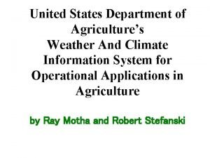 United States Department of Agricultures Weather And Climate