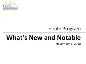 Erate Program Whats New and Notable November 1