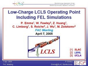 LowCharge LCLS Operating Point Including FEL Simulations P