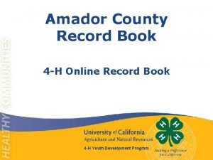 Amador County Record Book 4 H Online Record