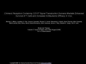 Chimeric Receptors Containing CD 137 Signal Transduction Domains