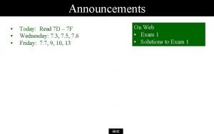 Announcements On Web Exam 1 Solutions to Exam