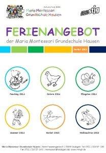 FERIENANGEBOT der Maria Montessori Grundschule Hausen Herbst 2015