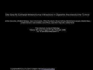 SiteSpecific EpithelialMesenchymal Interactions in Digestive Neuroendocrine Tumors Jrme