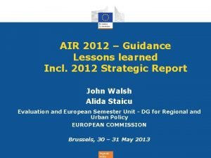 AIR 2012 Guidance Lessons learned Incl 2012 Strategic
