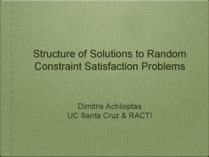 Structure of Solutions to Random Constraint Satisfaction Problems