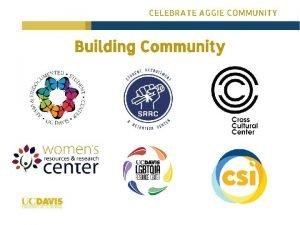 CELEBRATE AGGIE COMMUNITY Building Community CELEBRATE AGGIE COMMUNITY