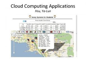 Cloud Computing Applications Hsu YaLun Google App Engine