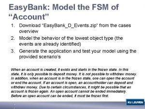 Easy Bank Model the FSM of Account 1