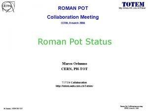 ROMAN POT http totem web cern chTotem Collaboration