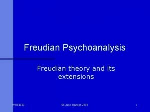 Freudian Psychoanalysis Freudian theory and its extensions 9302020