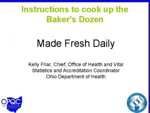 Instructions to cook up the Bakers Dozen Made