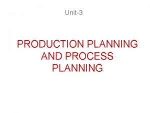 Unit3 PRODUCTION PLANNING AND PROCESS PLANNING PRODUCT PLANNING