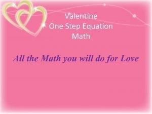 Valentine One Step Equation Math All the Math