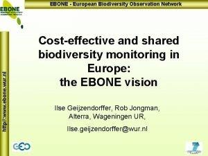 http www ebone wur nl EBONE European Biodiversity