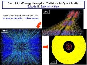 From HighEnergy HeavyIon Collisions to Quark Matter Episode