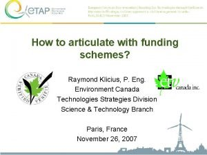 How to articulate with funding schemes Raymond Klicius