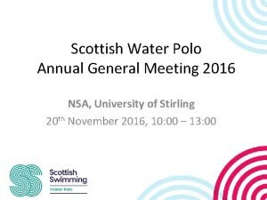 Scottish Water Polo Annual General Meeting 2016 NSA